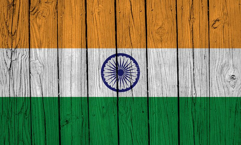 India flag Over Wood Planks royalty free stock photography