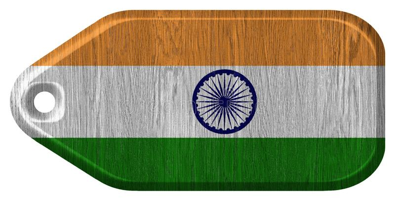 India Flag. Painted on wood tag royalty free stock photo