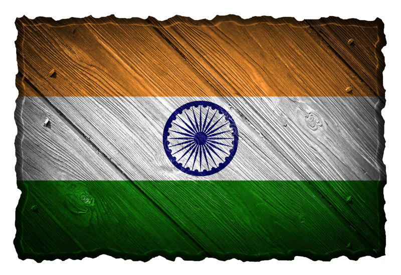 India Flag. Painted on wood tag stock images
