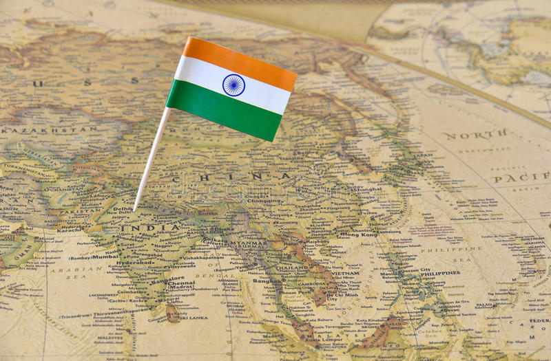 India flag pin on map stock photo