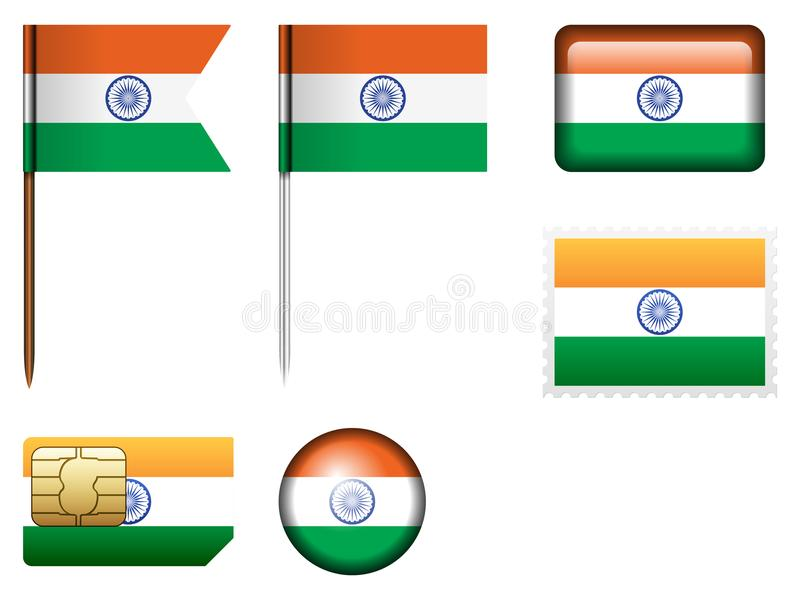 India flag set vector illustration