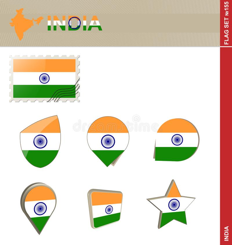 India Flag Set, Flag Set #155 vector illustration