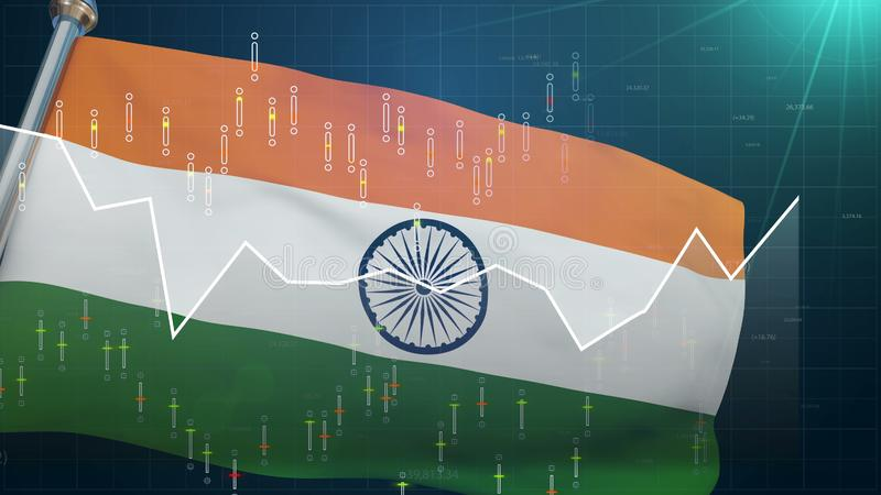 India flag on stock market background, trade finances Bombay, exchange currency. Stock photo royalty free illustration
