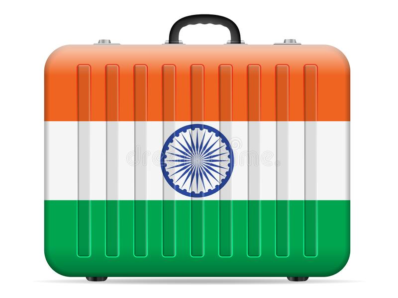India flag travel suitcase vector illustration