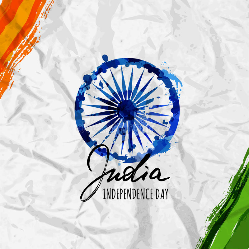 India flag vector illustration and hand drawn calligraphy lettering. stock illustration