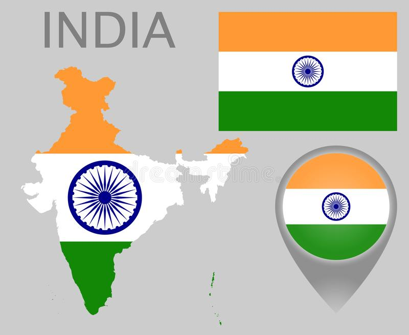 India flaga, mapa i mapa pointer, royalty ilustracja