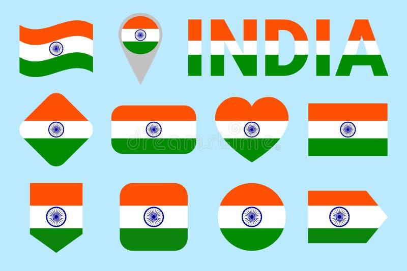 India flaga wektoru set Geomatric kształty Mieszkanie styl Indianin zaznacza kolekcję Sieć, sport strony, obywatel, podróż ilustracji