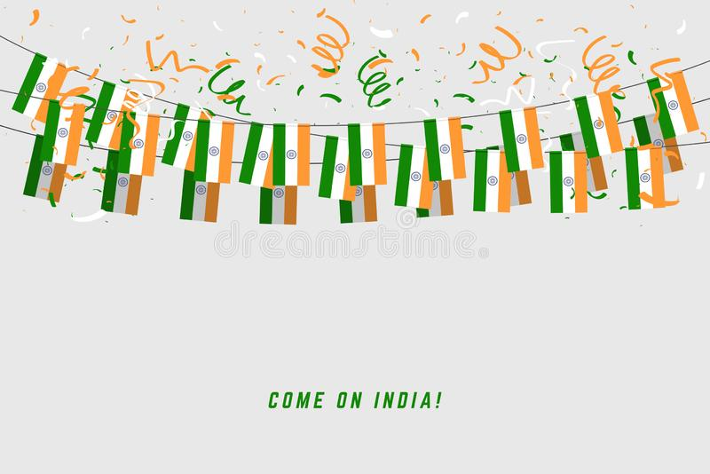 India garland flag with confetti on gray background, Hang bunting for Indian celebration template banner. vector illustration