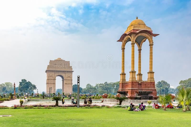 India Gate and Canopy, New Delhi, India royalty free stock image