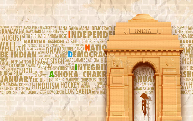 India Gate. Illustration of India gate on abstract background with text royalty free illustration