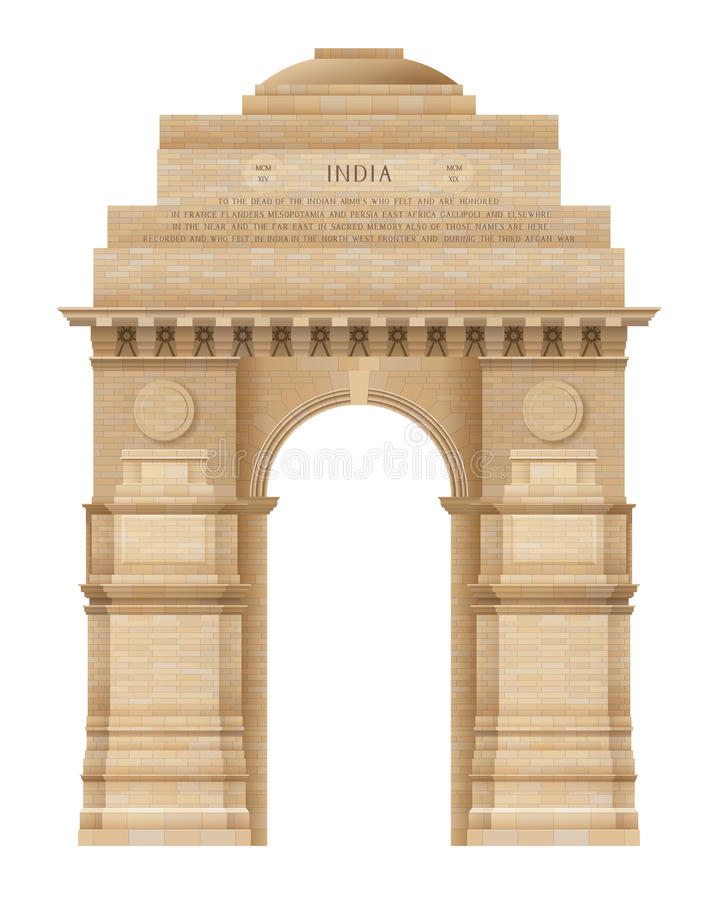 India gate. Illustration of Indian Gate in Delhi on white, EPS 10 contains transparency stock illustration