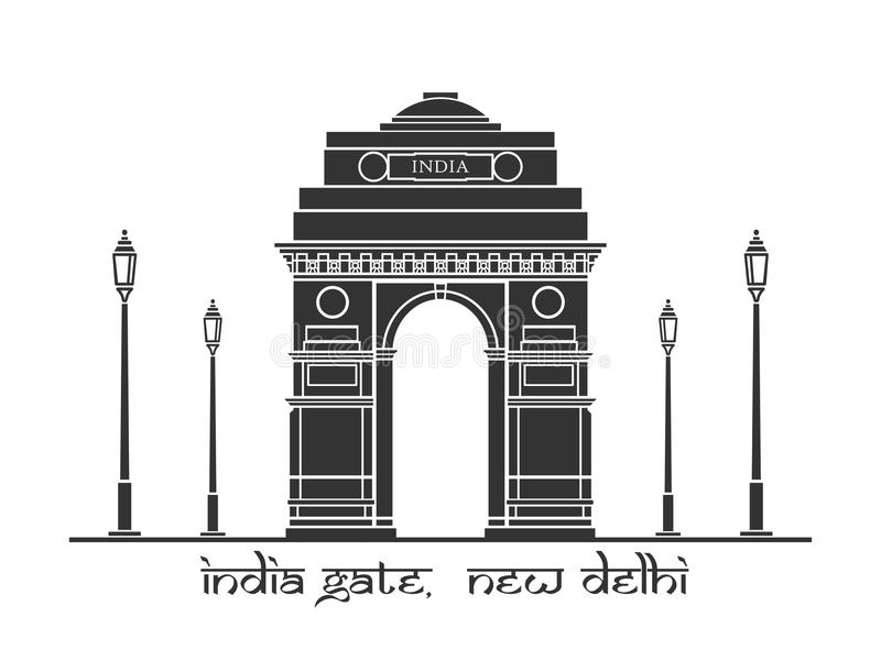 India Gate. An illustration of India Gate in New Delhi, India royalty free illustration
