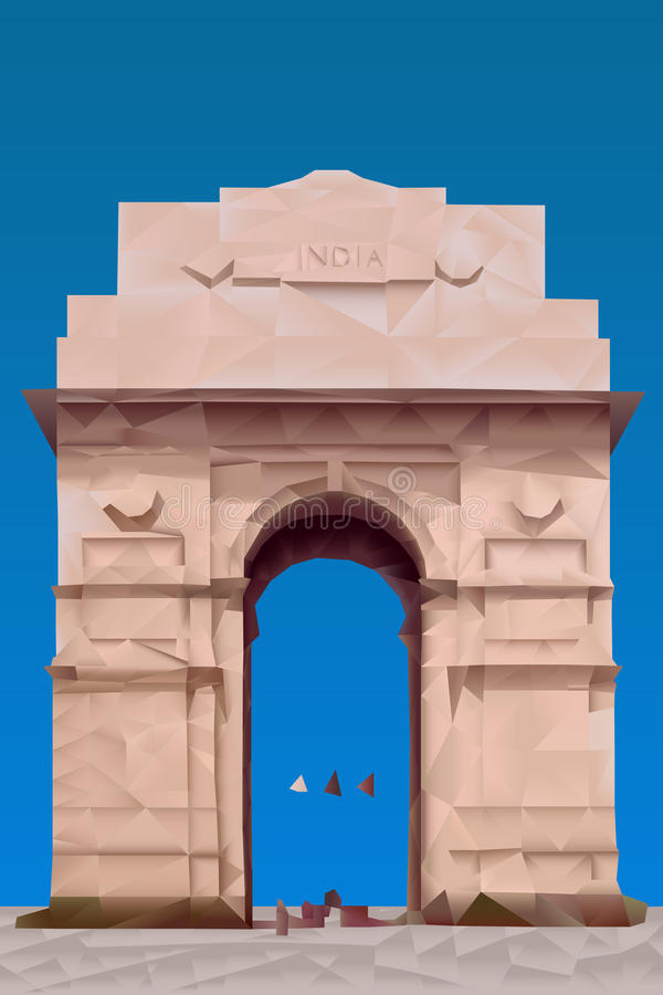 India Gate. Illustration in triangular pattern style vector illustration