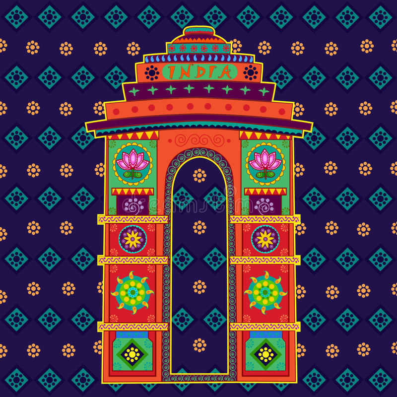 India Gate in Indian art style. Vector design of India Gate in Indian art style royalty free illustration