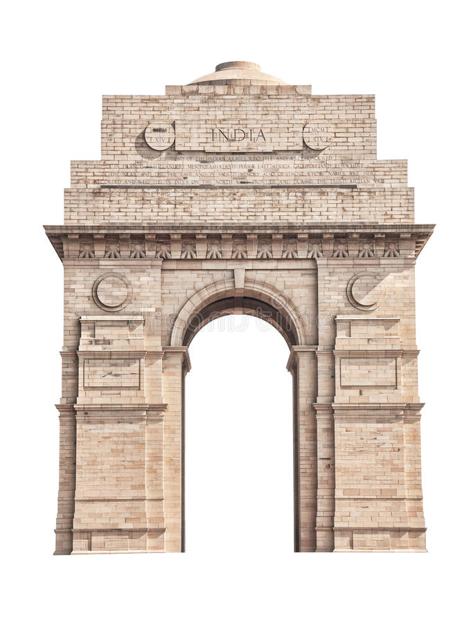 India Gate isolated on white. India Gate located in New Delhi isolated on white background royalty free stock images