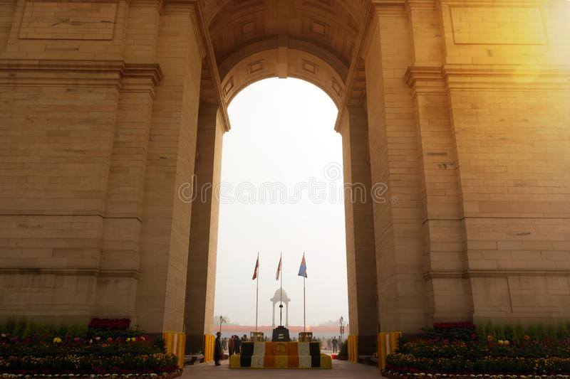 India Gate memorial in New Dalhi with President's stock photos