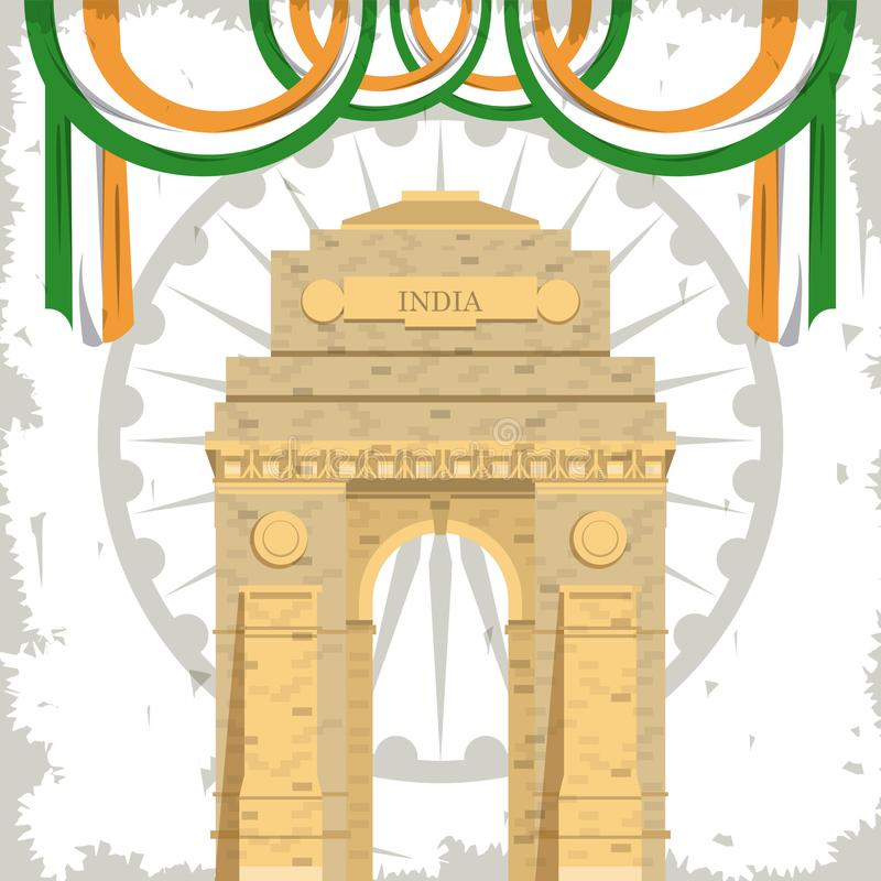India gate monument building with flags vector illustration