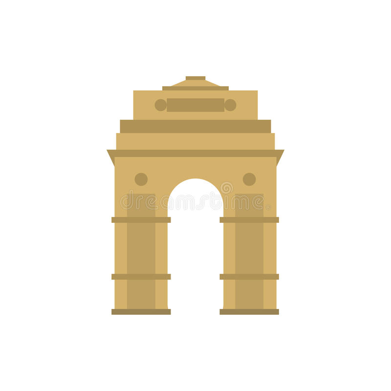 India Gate, New Delhi, India icon, flat style. India Gate, New Delhi, India icon in flat style isolated on white background stock illustration