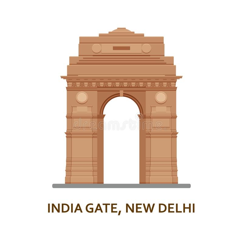 India Gate, New Delhi. Indian most famous sight. Architectural building. Famous tourist attractions. Vector illustration vector illustration