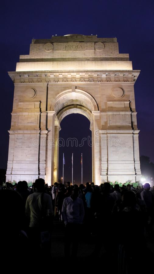 India Gate, New Delhi, March-2019 : C'est un mémorial de guerre de style architectural de voûte triomphale conçu par Sir Edwin Lu image stock