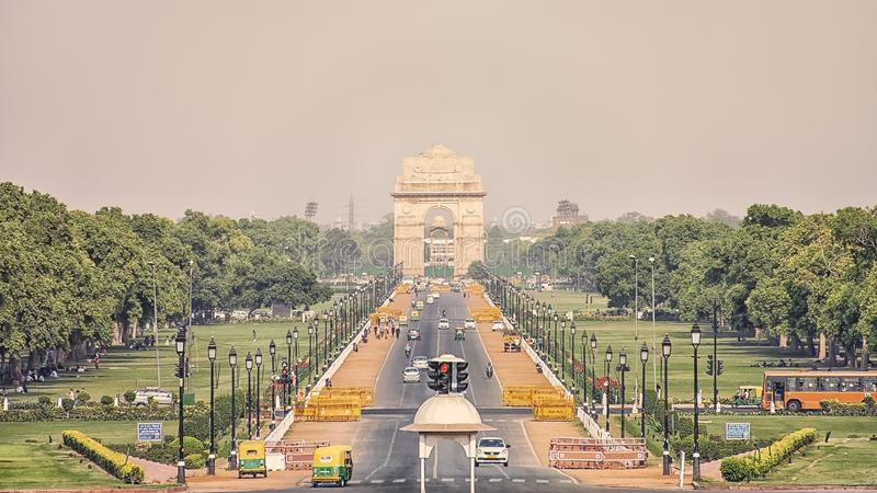 New Delhi city in daytime. The India Gate war memorial in New Delhi, India royalty free stock photography