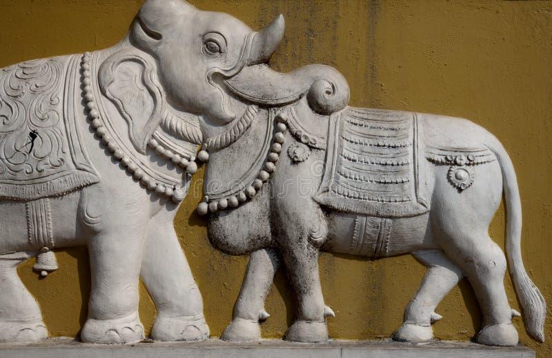 India - Goa - Elephant bass-relief stock photos