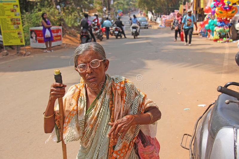 India, GOA, January 28, 2018. Indian elderly woman or grandmother in sari, in India.  royalty free stock photo