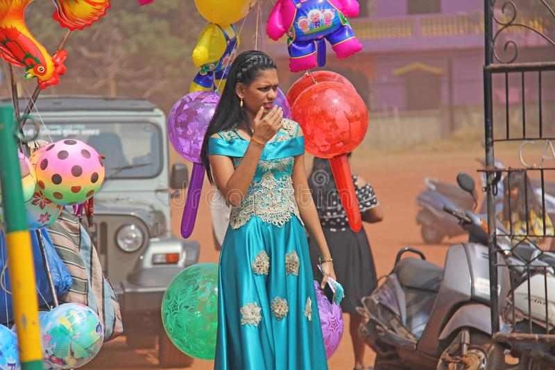 India, GOA, January 28, 2018. Young Indian girl in a beautiful blue or turquoise sari.  stock photos