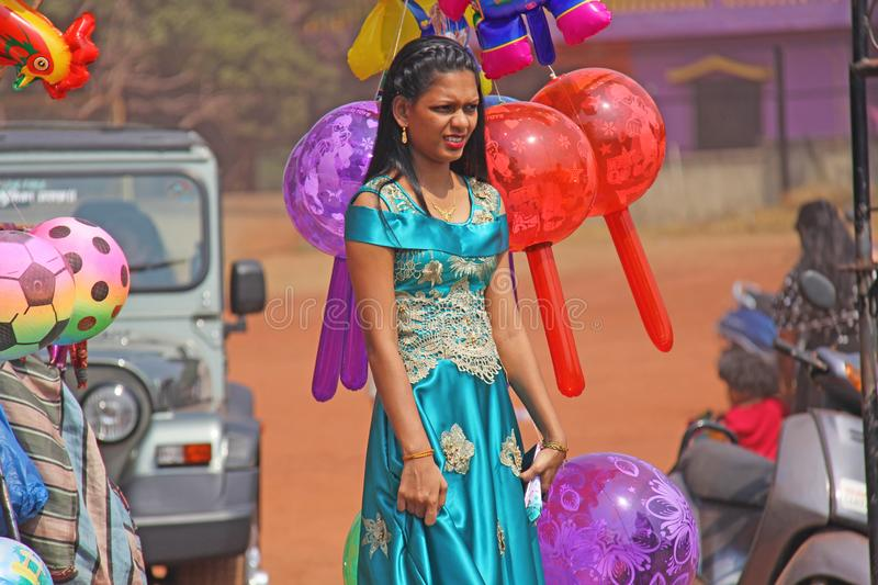 India, GOA, January 28, 2018. Young Indian girl in a beautiful blue or turquoise sari.  stock photo