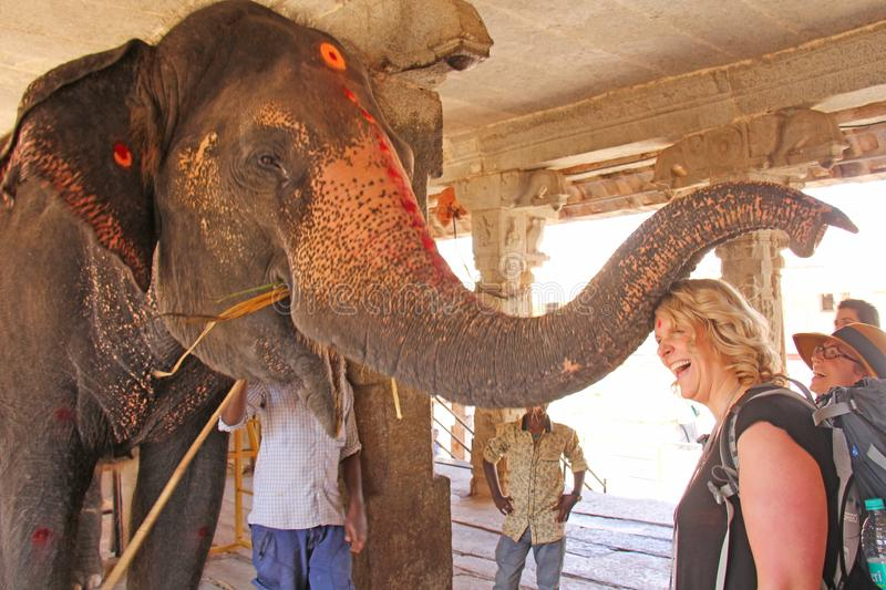India, Hampi, 01 February 2018. Indian elephant in the Temple of Virupaksha blesses the girl for money royalty free stock photos