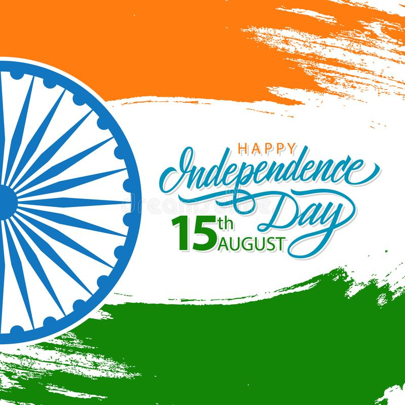 India happy independence day celebrate card with hand lettering download india happy independence day celebrate card with hand lettering holiday greetings stock vector m4hsunfo