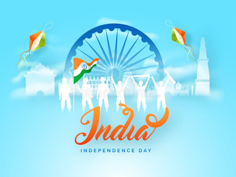 India Happy Independence Day poster or banner design with Army soldiers. stock illustration