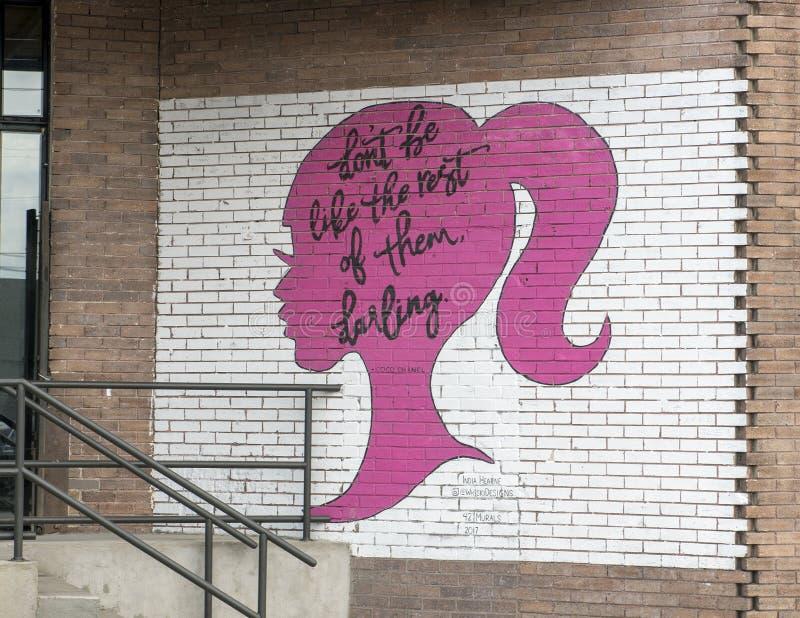 42 2017 India Hearne malowidło ścienne, Głęboki Ellum, Teksas zdjęcie royalty free