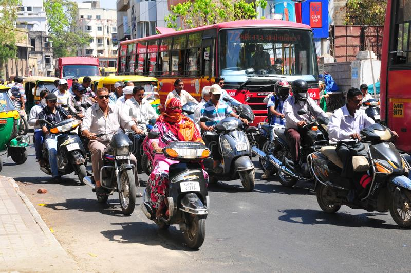 India: heavy traffic in the streets of Ahmedabad, Gujarat. India: heavy traffic in the streets of Ahmedabad, the capital city of Gujarat royalty free stock photos
