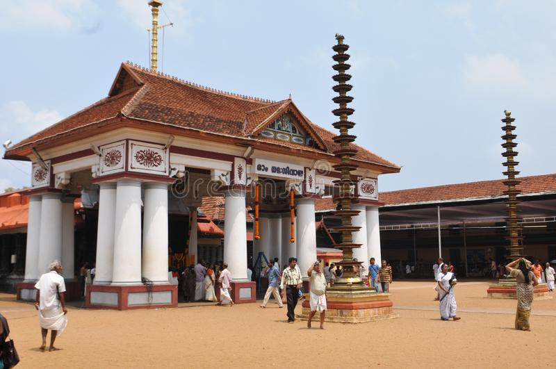 India: A Hindi temple in Kerala near Allepy. India: Pilgrims at a Hindi temple in Kerala near Allepy city royalty free stock images