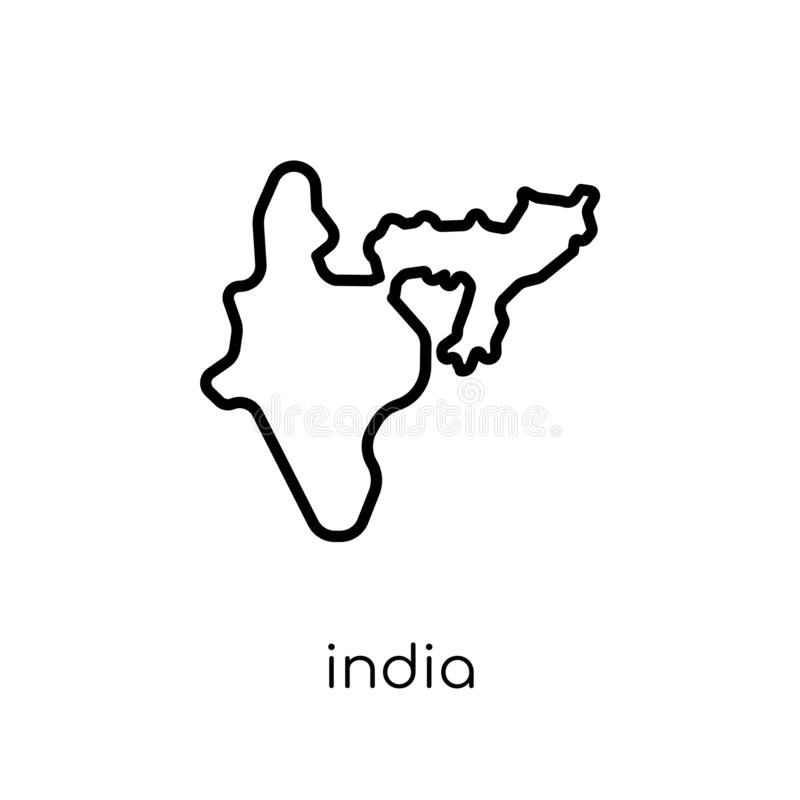 India icon. Trendy modern flat linear vector India icon on white. Background from thin line india collection, editable outline stroke vector illustration vector illustration