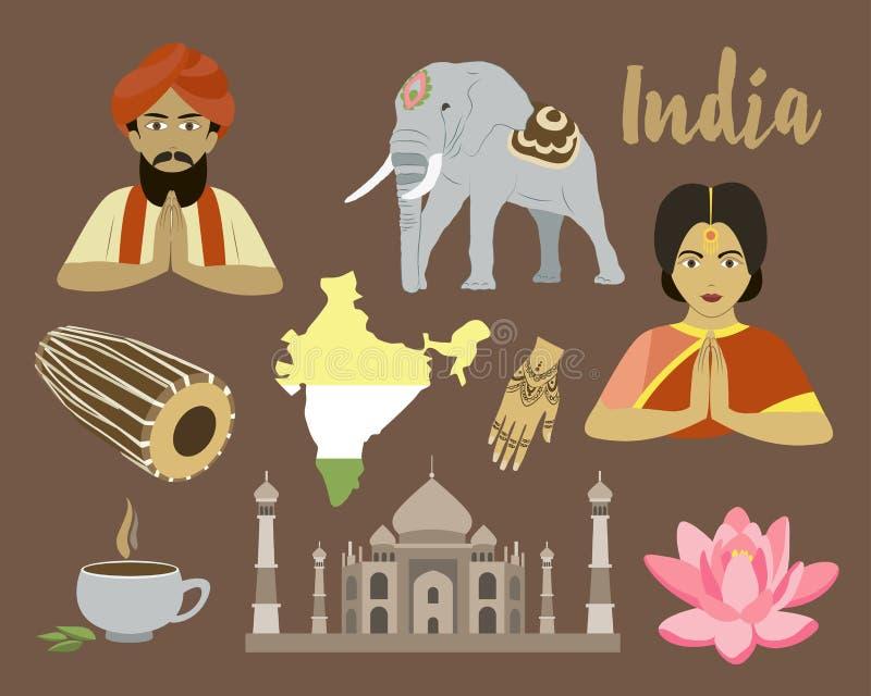 India ikony set royalty ilustracja