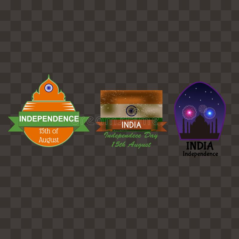 India independence day badges collection royalty free illustration