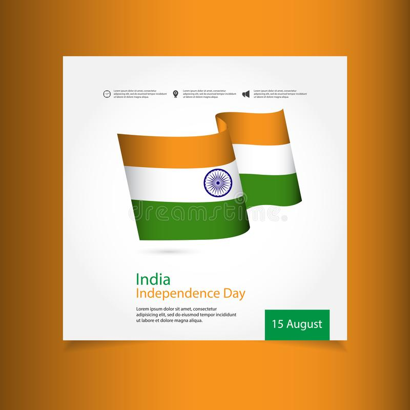 India Independence Day Celebration Vector Template Design Illustration. Indian, republic, august, background, flag, january, national, holiday, wheel, 15 vector illustration