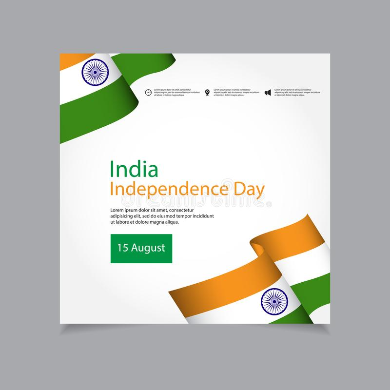 India Independence Day Celebration Vector Template Design Illustration. Indian, republic, august, background, flag, january, national, holiday, wheel, 15 royalty free illustration