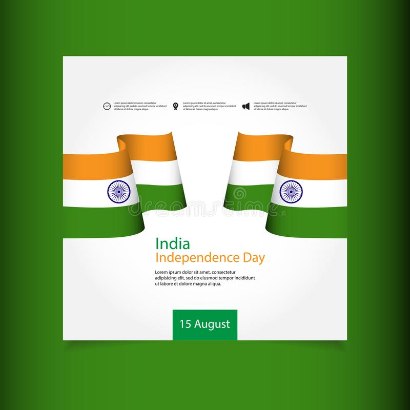 India Independence Day Celebration Vector Template Design Illustration. Indian, republic, august, background, flag, january, national, holiday, wheel, 15 stock illustration