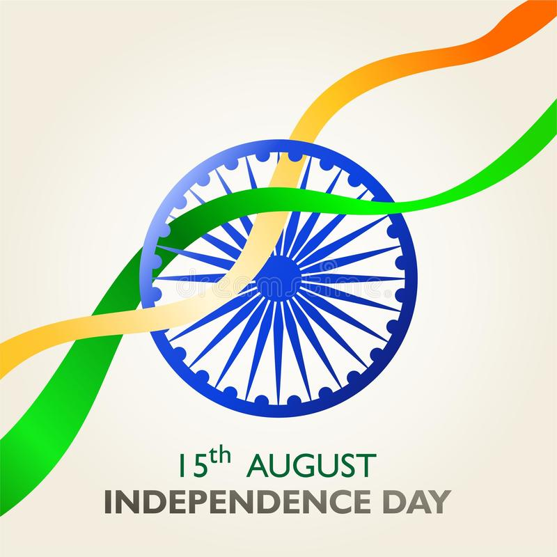 India independence day. 15 th august. Symbol and ribbon flag fluttering. poster Vector illustration royalty free illustration