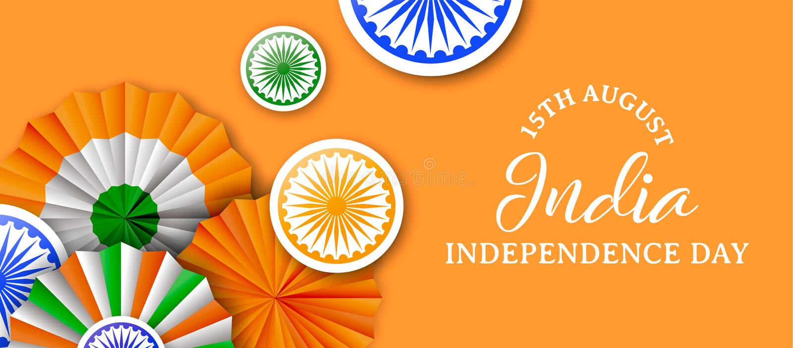 India Independence Day tricolor badge web banner stock illustration