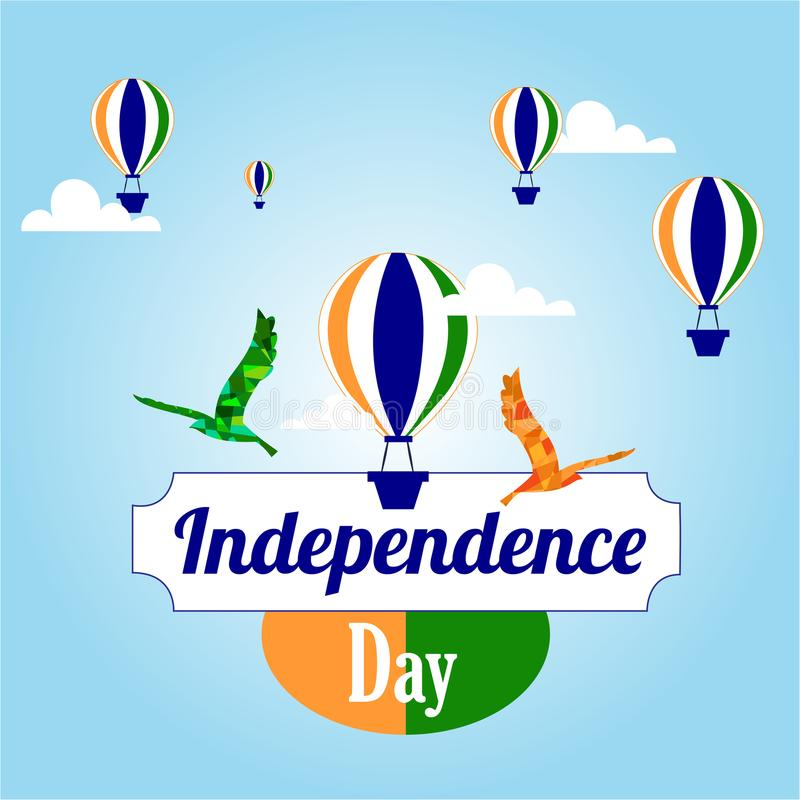 India independence day. India tricolor. Free Bird, Hot air balloon vectors. India independence day. India tricolor national flag. 15th August. Indian celebration royalty free illustration