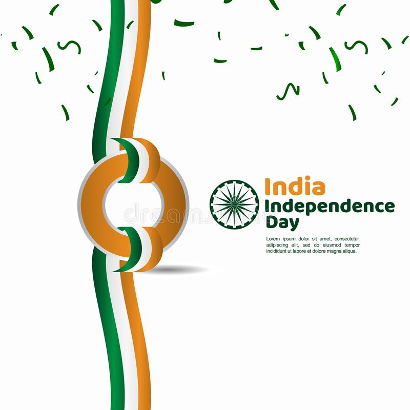 India Independence Day Vector Template Design Illustration. Indian background republic august happy freedom flag holiday green january national tricolor country stock illustration