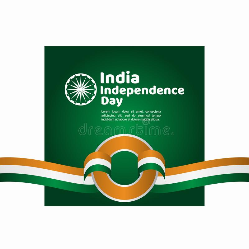 India Independence Day Vector Template Design Illustration. Indian background republic august happy freedom flag holiday green january national tricolor country royalty free illustration