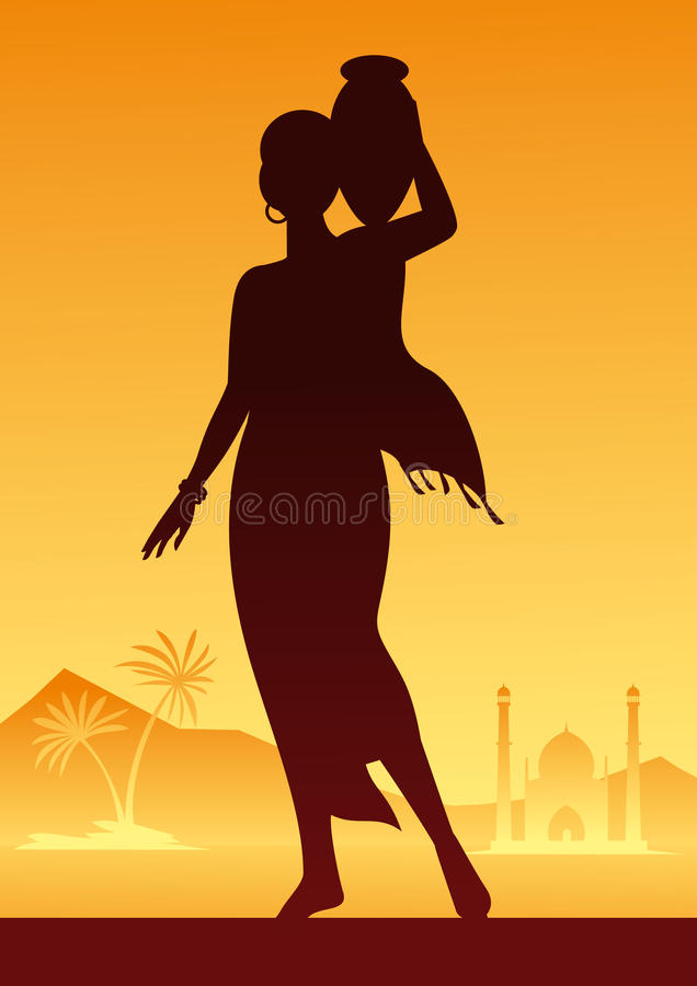 Download India. Indian girl. Water stock vector. Image of palm - 15129975