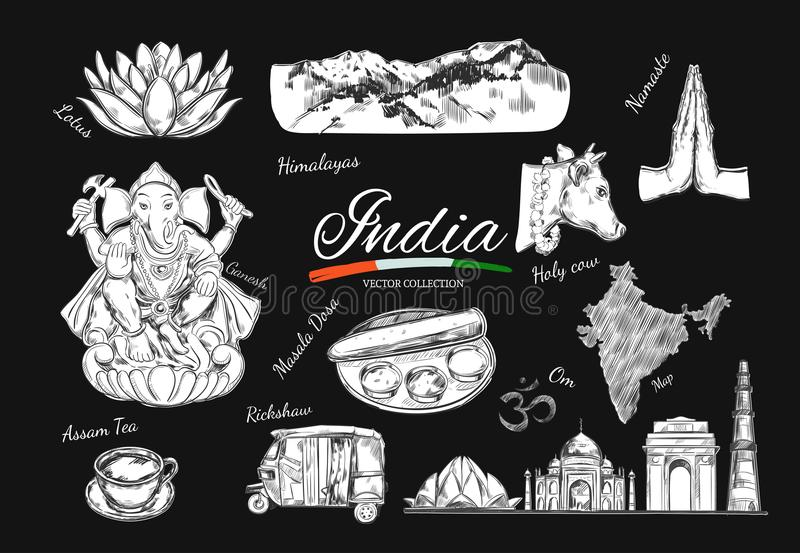 India Indian Heritage Stock Vector Illustration Of Drawing