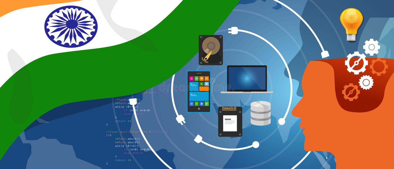 India IT information technology digital infrastructure connecting business data via internet network using computer stock illustration