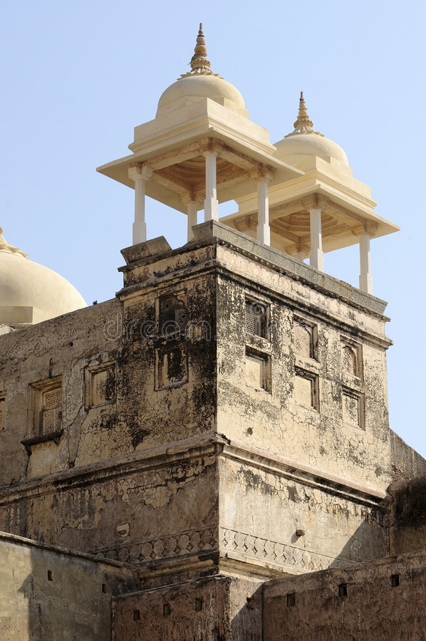 India Jaipur Amber fort. White stone for this defensive tower stock photo